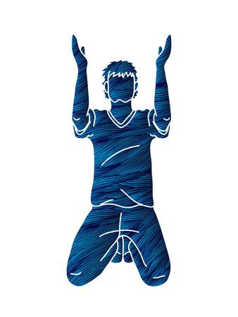 Prière les mains en l'air, vecteur graphique de dessin animé chrétien priant