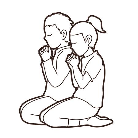 Boy and Girl pray together, Prayer, Christian praying children pray with God cartoon graphic vector