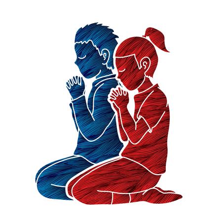 Niño y niña rezan juntos, oración, niños rezando cristianos rezan con vector gráfico de dibujos animados de Dios
