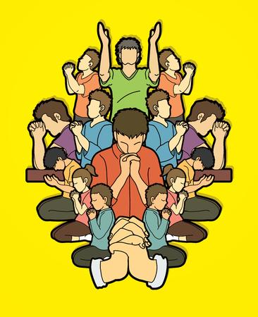 Groupe de prière, chrétien priant ensemble vecteur graphique de dessin animé Vecteurs