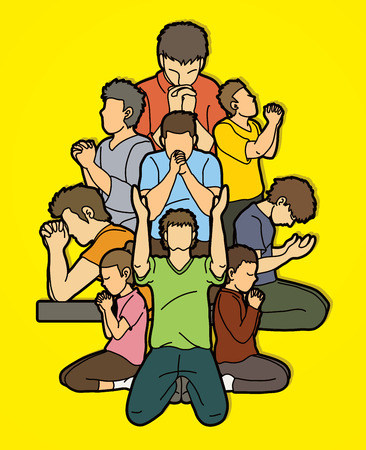 Group of Prayer, Christian praying together cartoon graphic vector