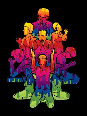 Group of Prayer, Christian praying together cartoon graphic vector Vektoros illusztráció