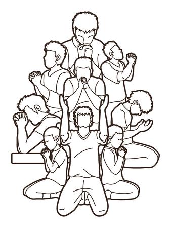 Groupe de prière, chrétien priant ensemble vecteur graphique de dessin animé