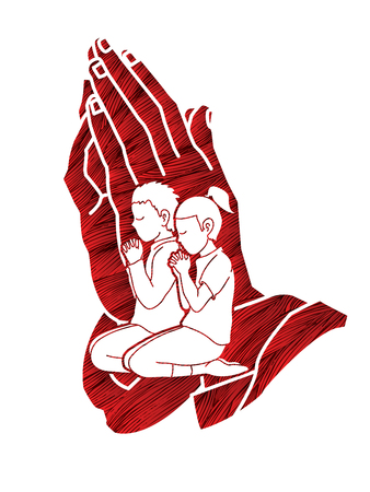 Prayer, Christian praying together , cartoon graphic vector 写真素材 - 106311496