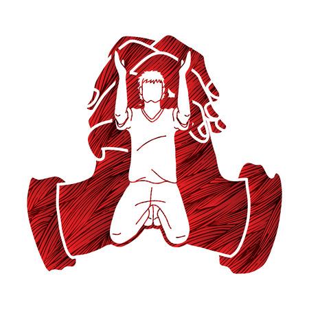 Prière, chrétien priant ensemble, vecteur graphique de dessin animé
