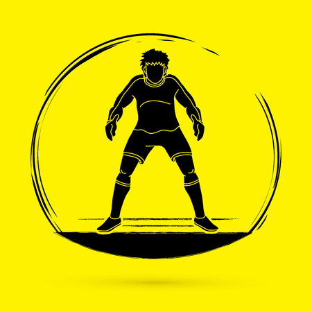Goalkeeper prepare catches the ball  graphic vector Vectores