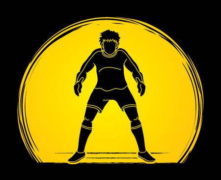 Goalkeeper prepare catches the ball  graphic vector Stock Illustratie
