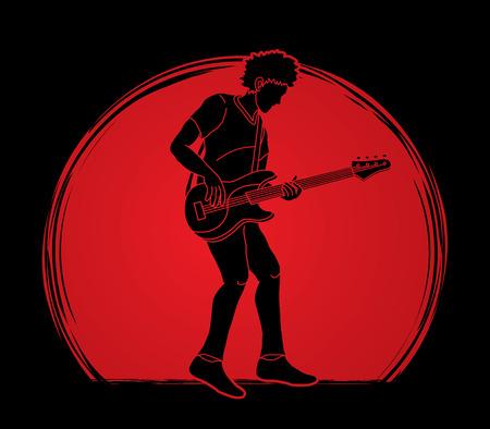 Músico tocando el bajo, vector gráfico de banda de música Ilustración de vector