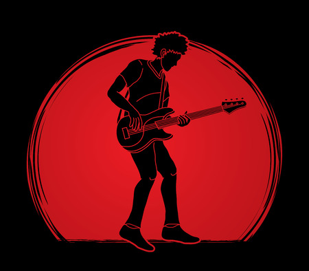 Musician playing bass, Music band graphic vector Vetores