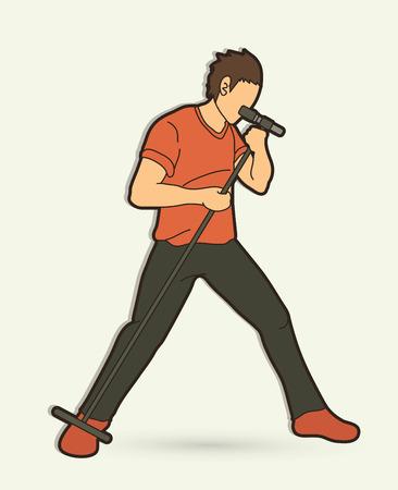 Cantante canta una canción vector gráfico de banda de música