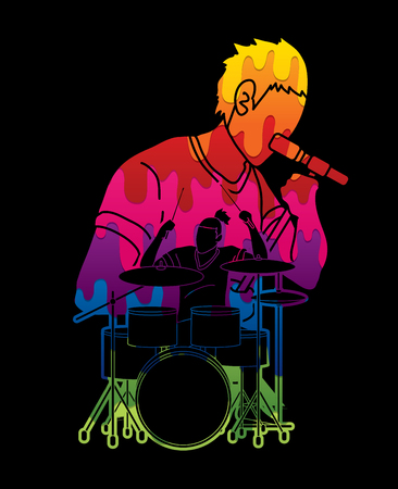 Musician playing music together, Music band, Artist graphic vector Illustration
