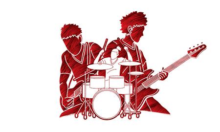 Músico tocando música juntos, banda de música, vector gráfico de artista Ilustración de vector