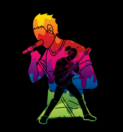 Musician playing music together, Music band, Artist graphic vector