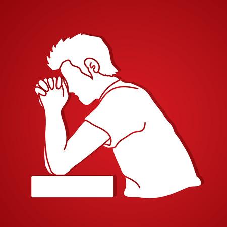 Lobe Gott, Gebet, christliches Beten, danke GOTT grafischen Vektor