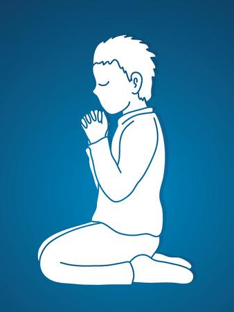 Little boy Praise God, Prayer, Christian praying, Thank you GOD graphic vector Ilustración de vector