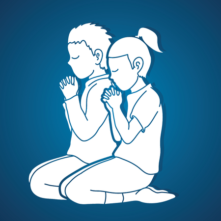 Little boy and girl Praise God, Prayer, Christian praying, Thank you GOD graphic vector Vetores