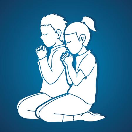 Niño y niña alaban a Dios, oración, oración cristiana, gracias a Dios vector gráfico Ilustración de vector