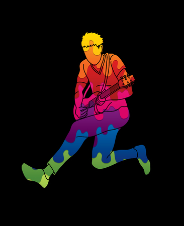 Musician playing electric guitar, Music band graphic vector.