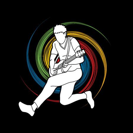 Músico tocando la guitarra eléctrica, vector gráfico de la banda de música.