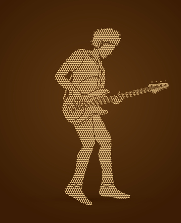 Musician playing bass, Music band graphic vector