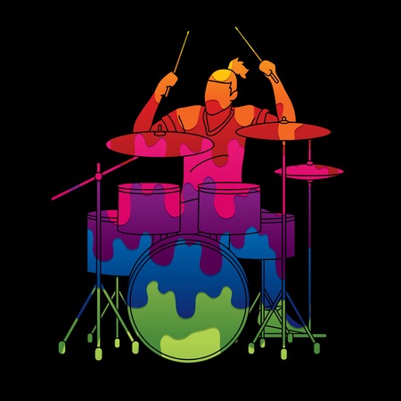 Musician playing Drum, Music band graphic vector Reklamní fotografie - 107522113