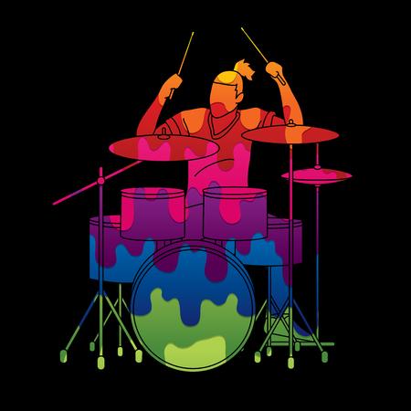 Musicien jouant du tambour, vecteur graphique de groupe de musique