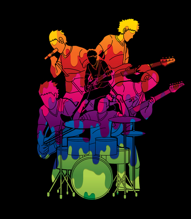 Musician playing music together, Music band graphic vector