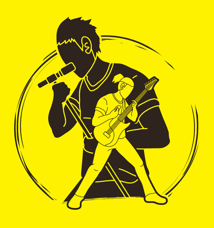 Musician playing music together, Music band, Artist graphic vector Vettoriali