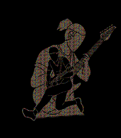 Musician playing music together, Music band, Men playing electric guitar graphic vector