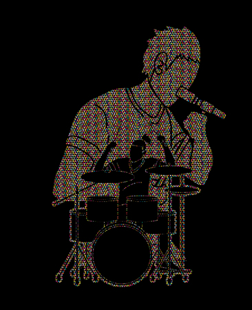 Musician singing and playing drum, Music band, Artist graphic vector