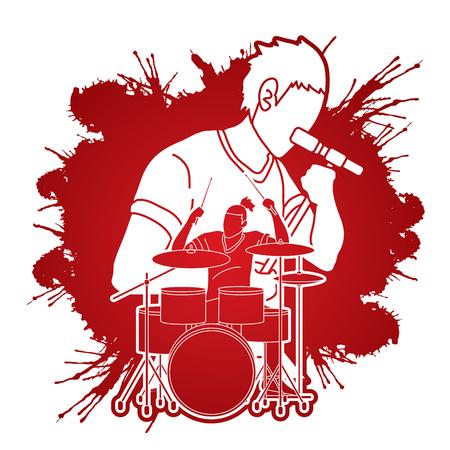 Músico cantando y tocando el tambor, banda de música, artista gráfico vectorial Ilustración de vector