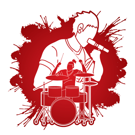 Musician singing and playing drum, Music band, Artist graphic vector Stock fotó - 107541888