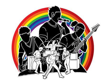 Musiker, der Musik zusammen spielt, Musikband, Künstlergrafikvektor