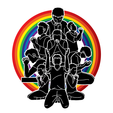 Group of people Praying, Christian praying, Thank you GOD , Prayer composition graphic vector