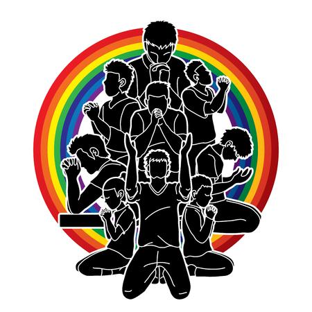 Groupe de personnes priant, priant chrétien, merci Dieu, vecteur graphique de composition de prière