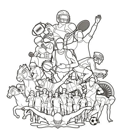 Sportspieler, verschiedene Sportarten, Sport-Mix-Action-Grafikvektor.
