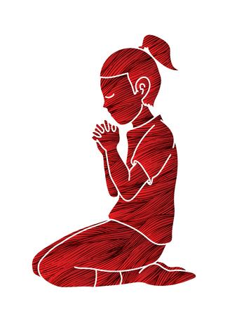 Chica alabado sea Dios, oración, oración cristiana, gracias a Dios vector gráfico