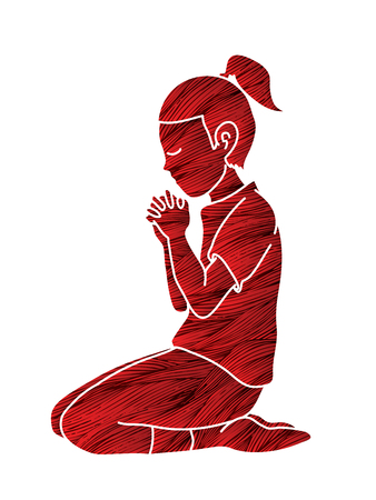 Girl Praise God, Prayer, Christian praying, Thank you GOD graphic vector