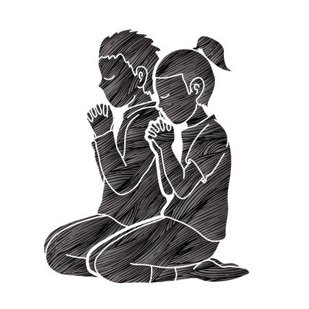 Niño y niña alaban a Dios, oración, oración cristiana, gracias a Dios vector gráfico