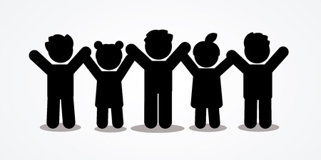 Group of children holding hands icon graphic vector. Çizim