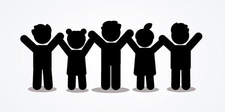 Grupo de niños cogidos de la mano icono gráfico vectorial.