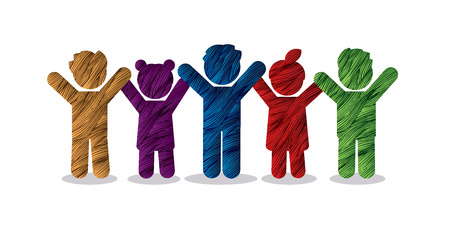 Group of children holding hands icon graphic vector. Иллюстрация