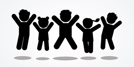 Group of children jumping icon graphic vector. Illustration
