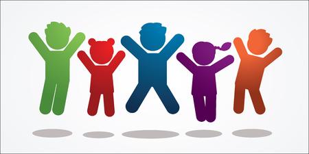 Gruppe von Kindern, die Symbolgrafikvektor springen.