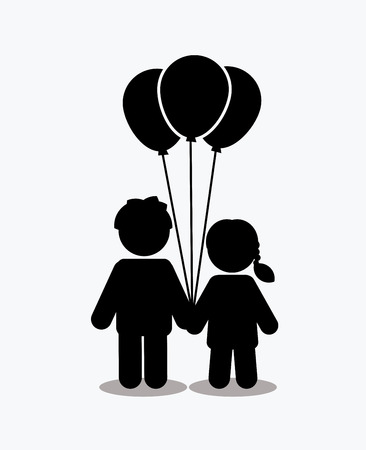 Children icon, Love icon, couple icon  with balloons graphic vector.