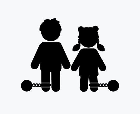 Fermare gli abusi sui minori, bambini con catena e icona a sfera grafica vettoriale.