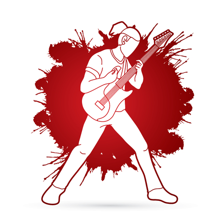 Musician playing electric guitar, Music band graphic vector