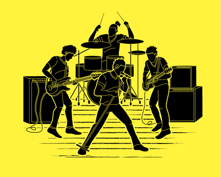 Musician playing music together, Music band graphic vector Vector Illustration