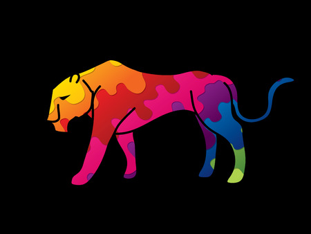 Black tiger or Lioness graphic vector. Ilustrace