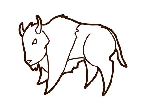 Buffalo che corre Bison grafica vettoriale